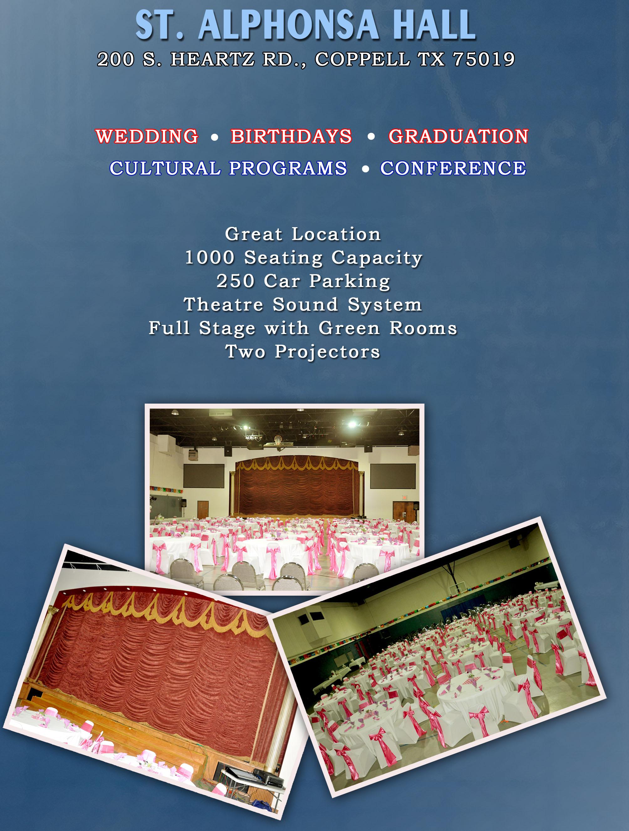 For Auditorium Rentals: Mr. Franco Davis : 972-804-5812